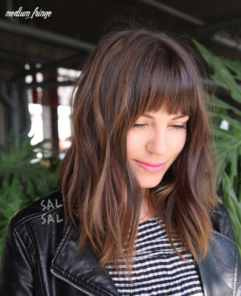 Layered brunette a line lob with fringe bangs and highlights