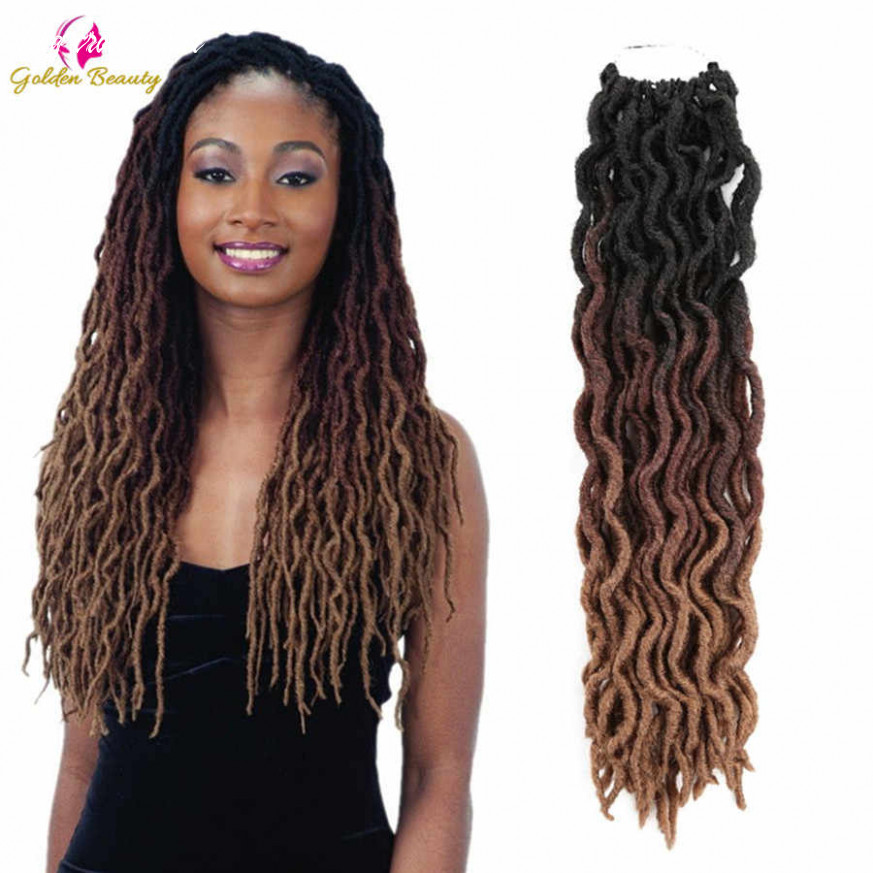 Long Goddess Faux Locs Crochet Hair Extension Synthetic Crochet Braid Hair  African Ombre Soft Curly hair 11inch Golden Beauty