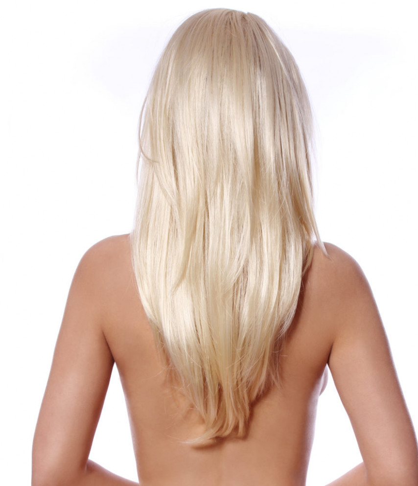 long layers, v shaped length in the back. platinum blond hair ...