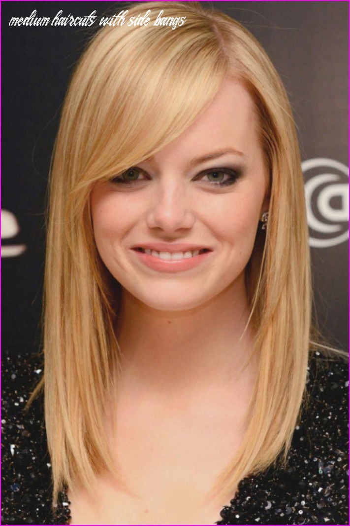 Medium straight hairstyles with side bangs | thin fine hair
