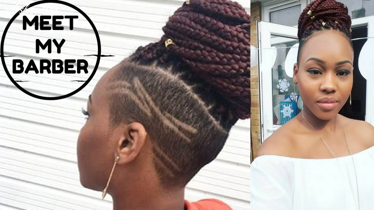 Meet my barber! new hair |shave sides with braids | queenteshna side shave braid
