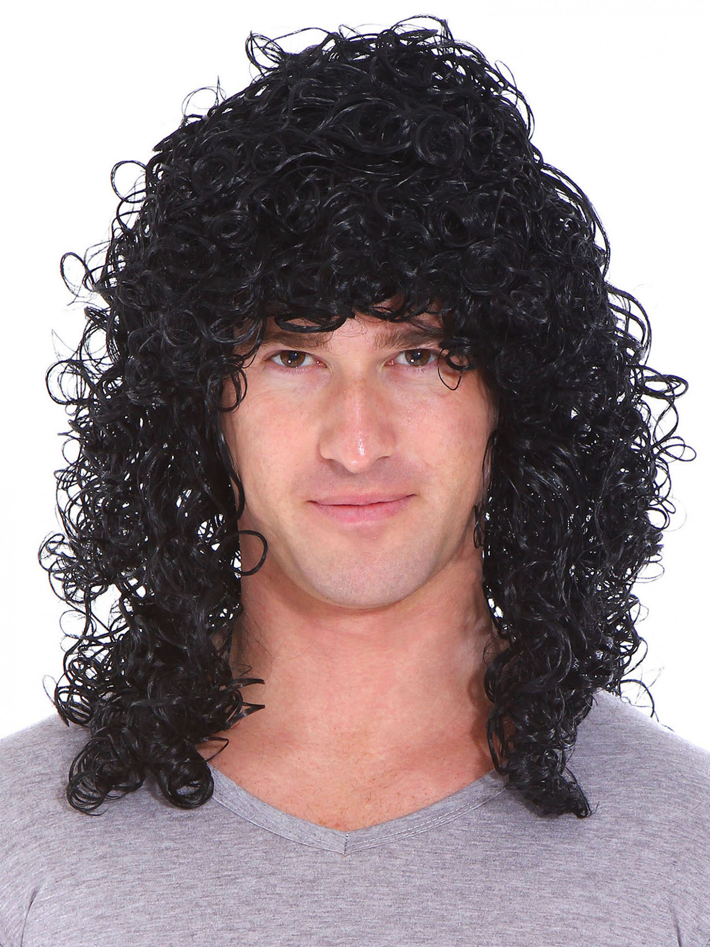 Mens 12s Rocker Long Curly Wig Full Hair Black Wigs - Walmart.com