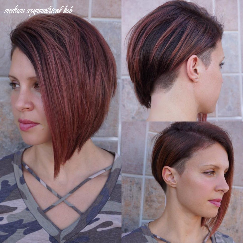 Modern asymmetrical undercut bob with burgundy color medium asymmetrical bob