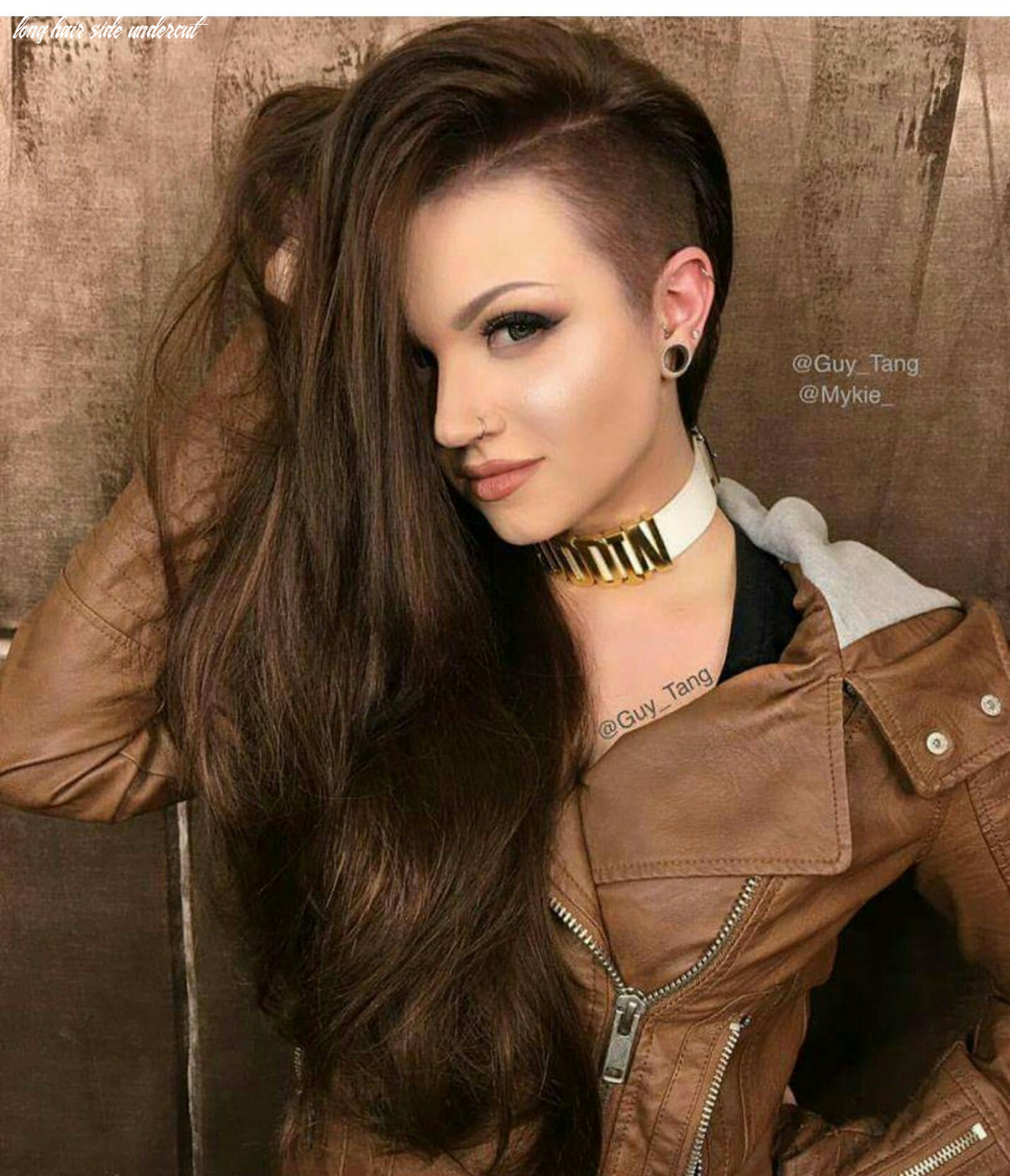 Mykie Glam and Gore Guy Tang Brown side shave hair hairstyle (With ...