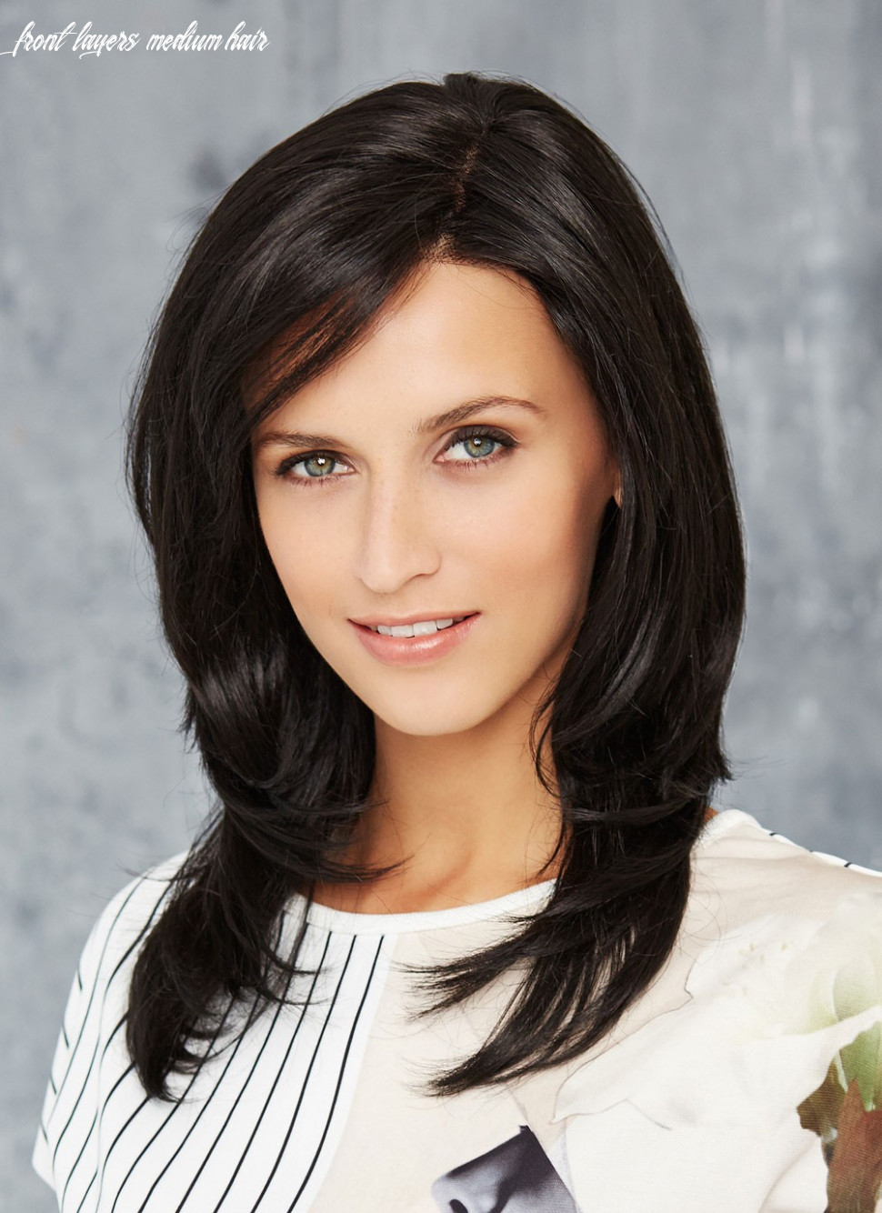 Natural Black Mid-length Layered Human Hair Lace Front Mono Top Wig