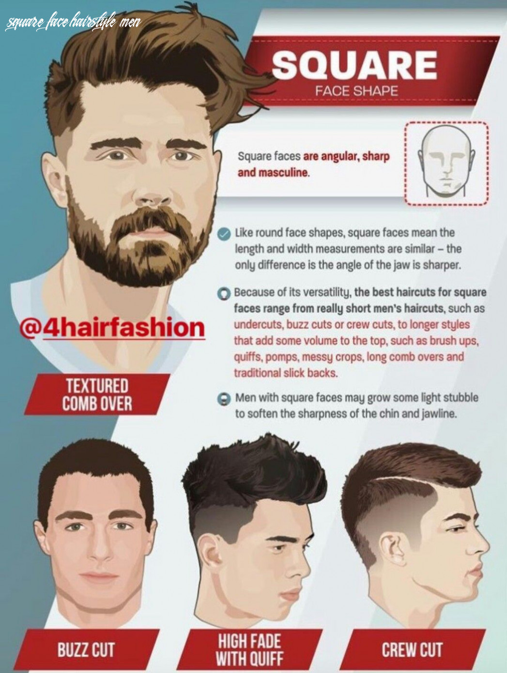 Pin on cut square face hairstyle men