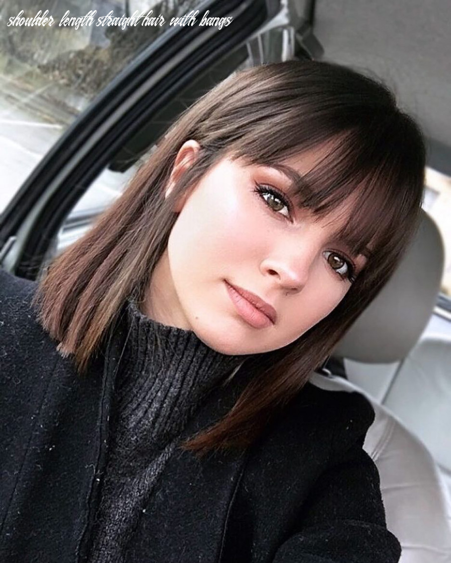 Pin on hair clothes shoulder length straight hair with bangs