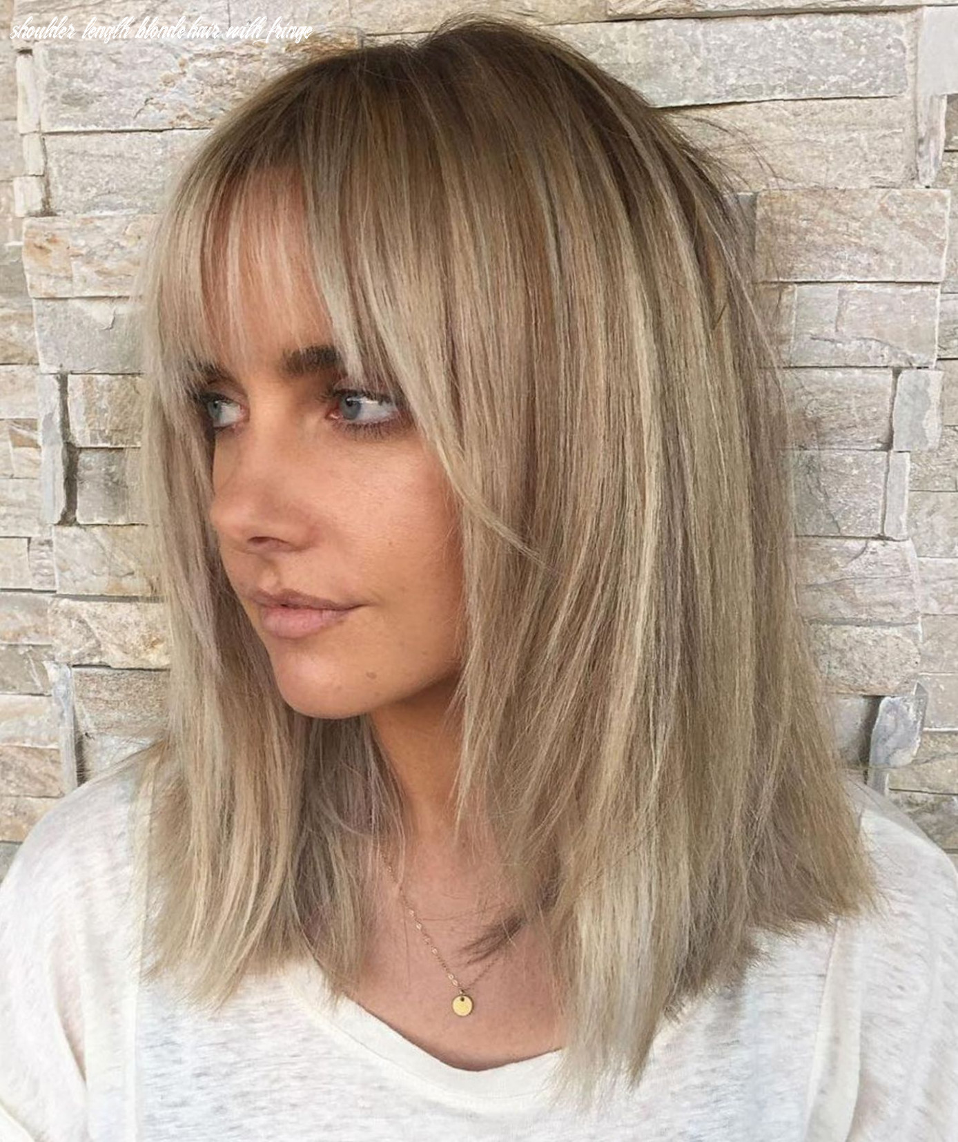 Pin on hair ideas shoulder length blonde hair with fringe