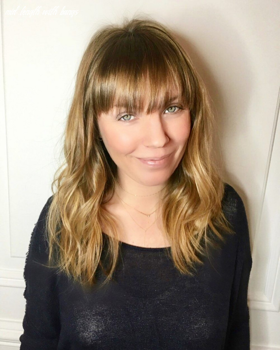 Pin on medium hairstyles with bangs mid length with bangs