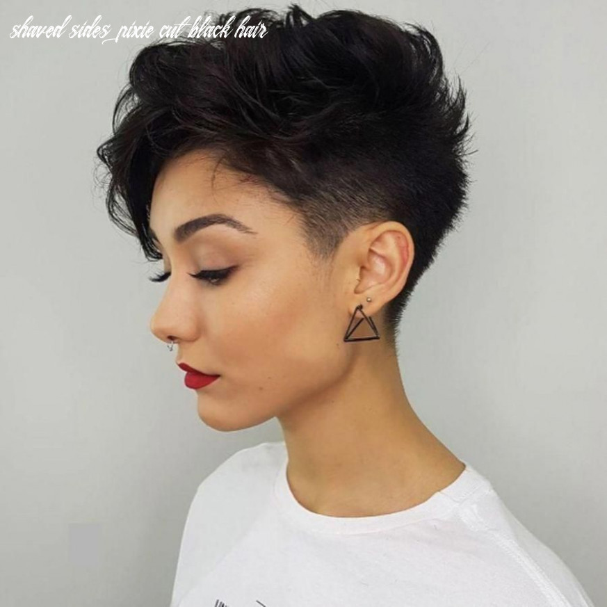 Pin on pixie shaved sides pixie cut black hair