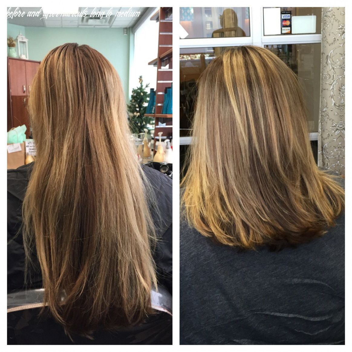 Pin on quaint beauty by lauren trent before and after haircuts long to medium