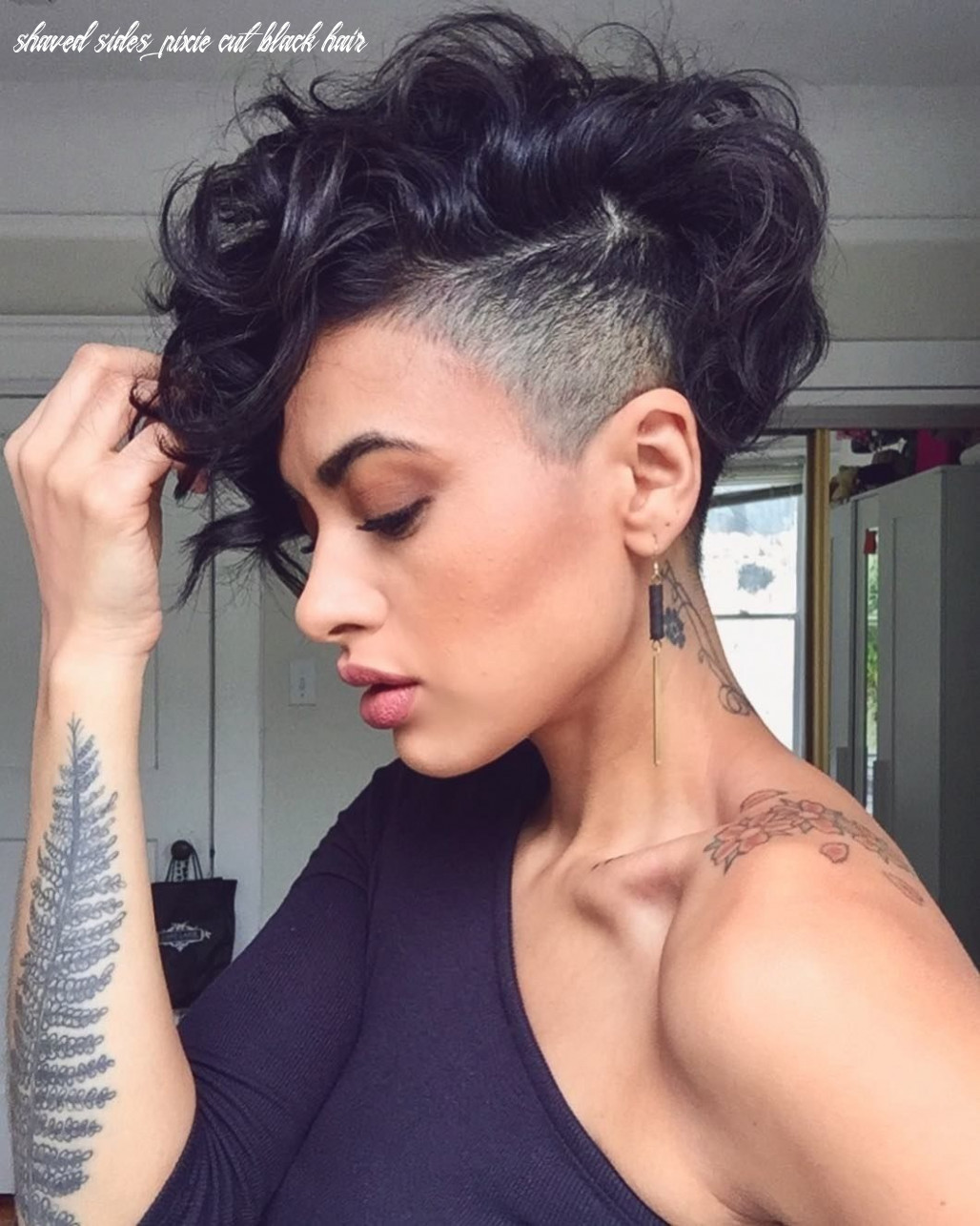 Pin on short hairstyle shaved sides pixie cut black hair