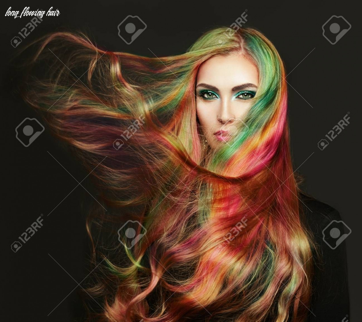 Portrait of young beautiful woman with long flowing hair model