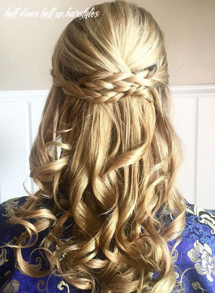 Prettiest braids and waves half up half down hairstyle for