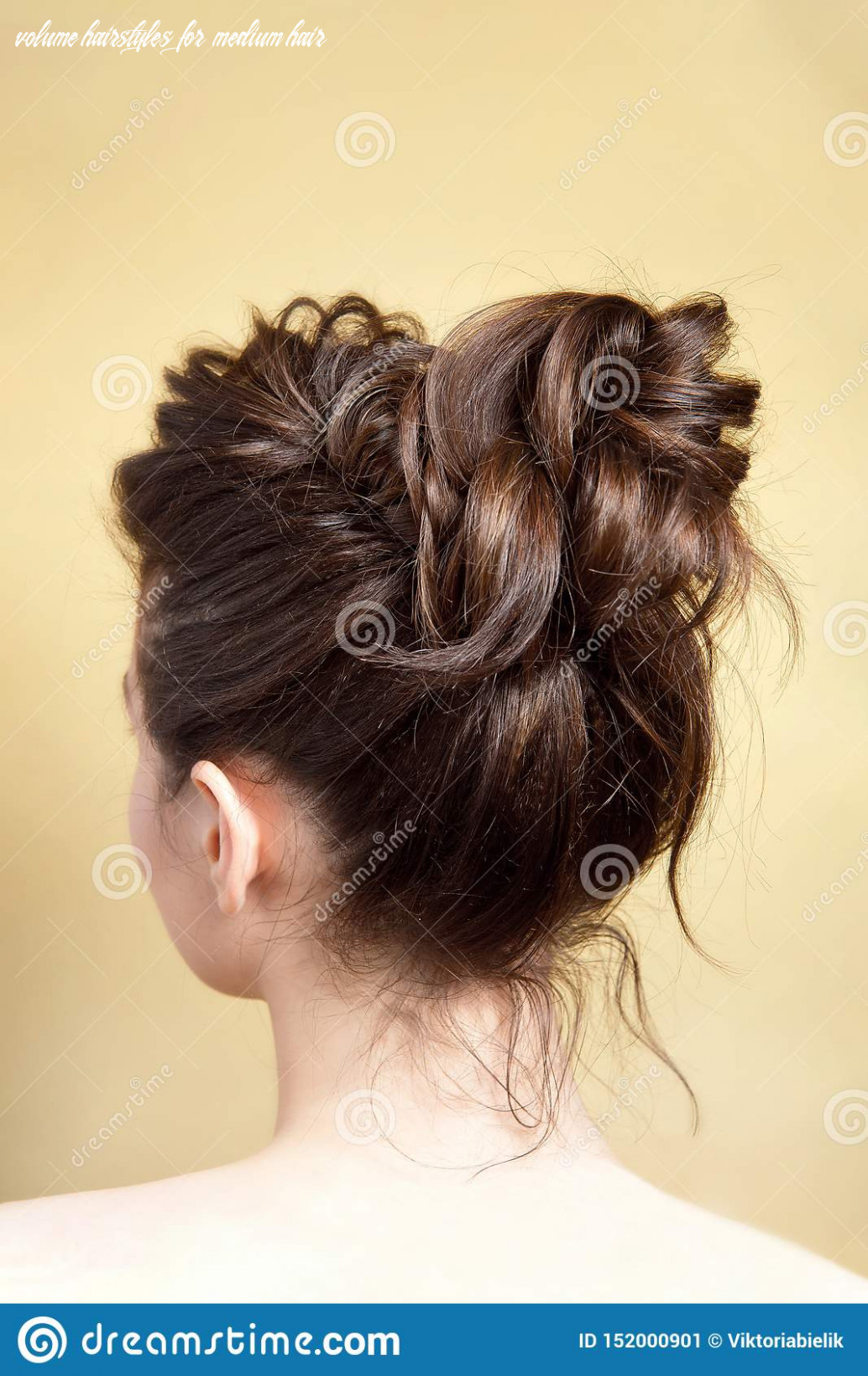 Rear View Of Female Hairstyle Medium Bun On Long Straight Brown ...