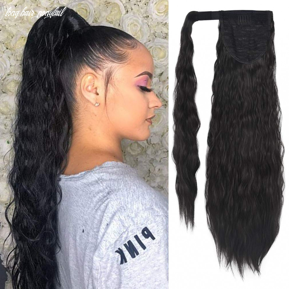 Seikea clip in ponytail extension wrap around for women long wavy curly hair fluffy pony tail 12 inch black long hair ponytail