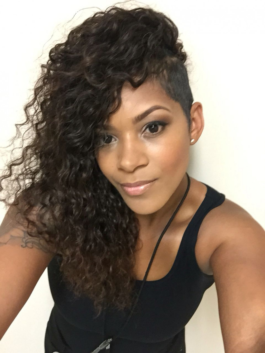 Sew in with shaved sides … | shaved side hairstyles, braids with