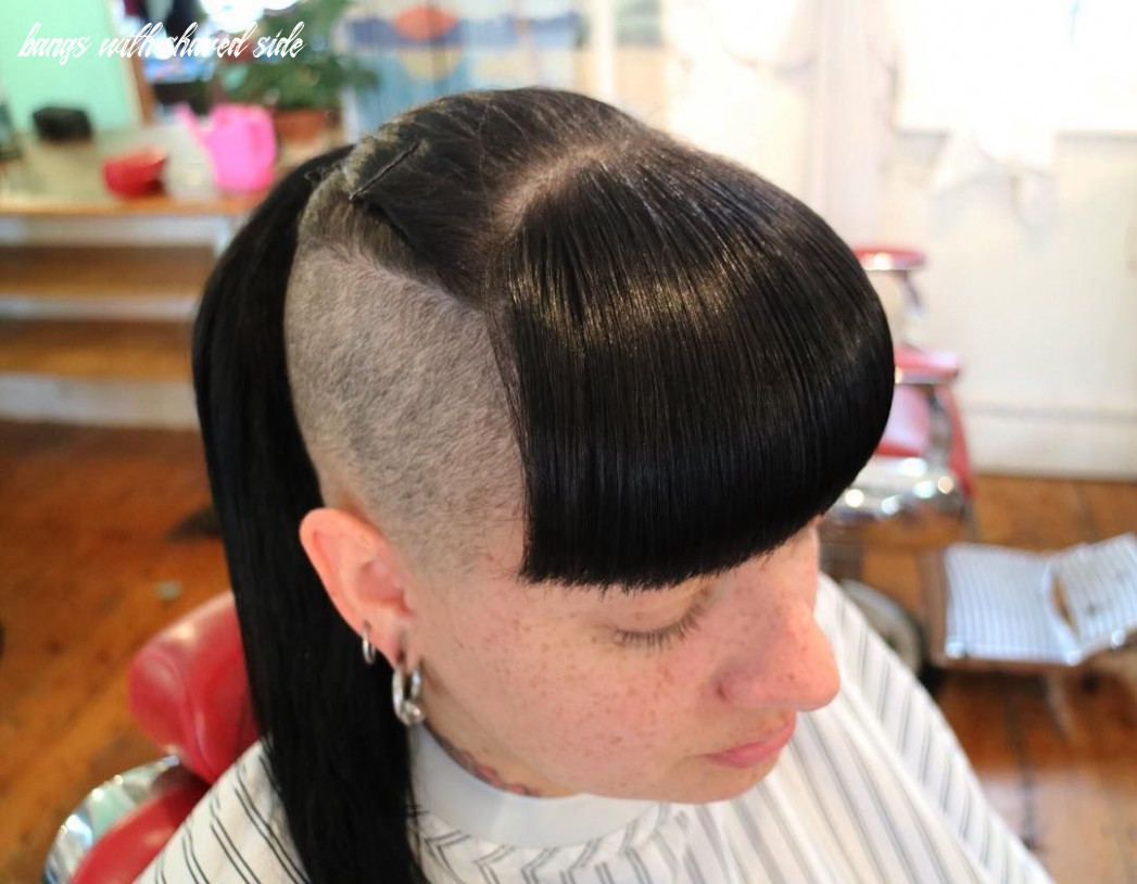 Shaved sides with bangs and long black hair | long black hair