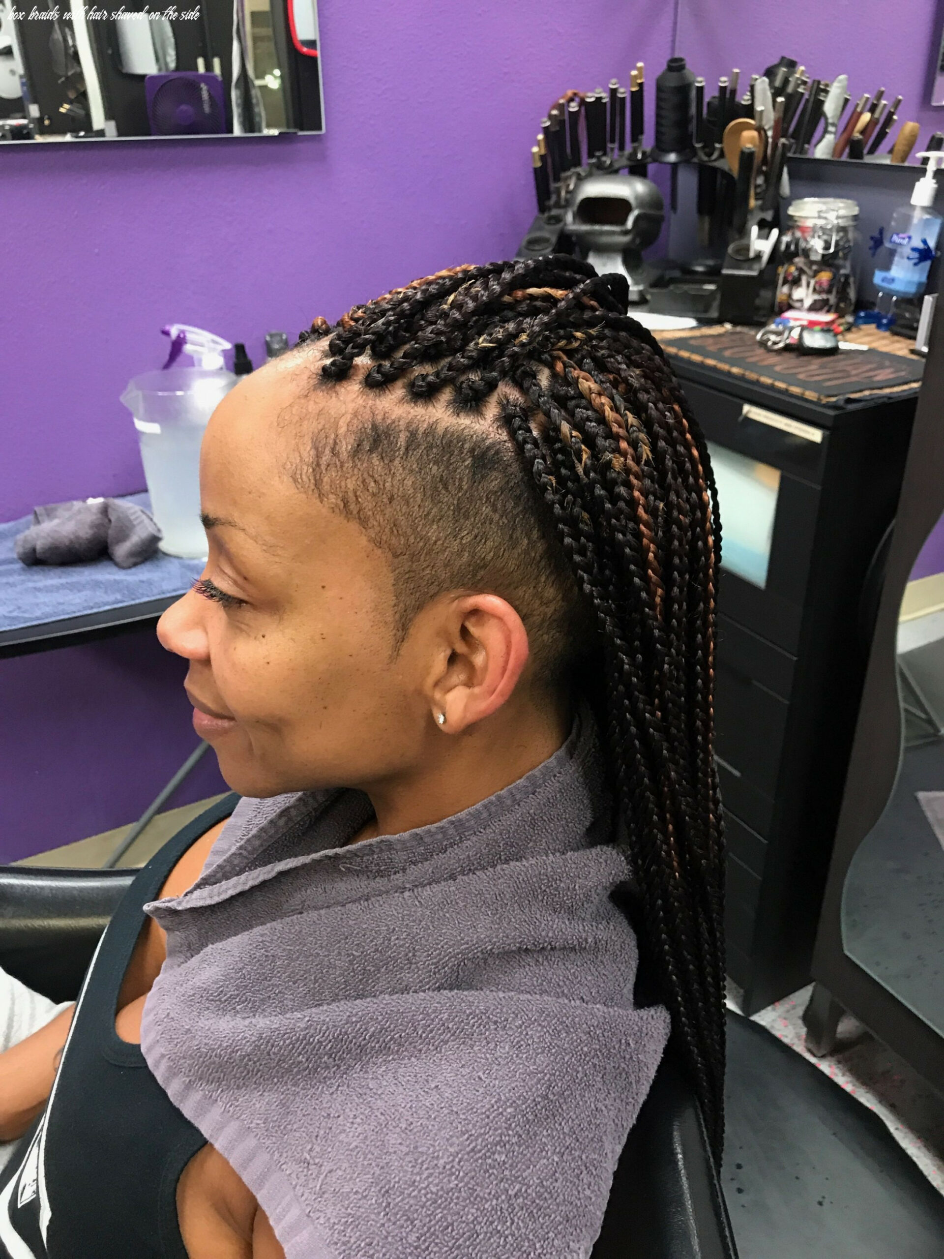 Shaved Sides with medium small box braids | Braids with shaved ...