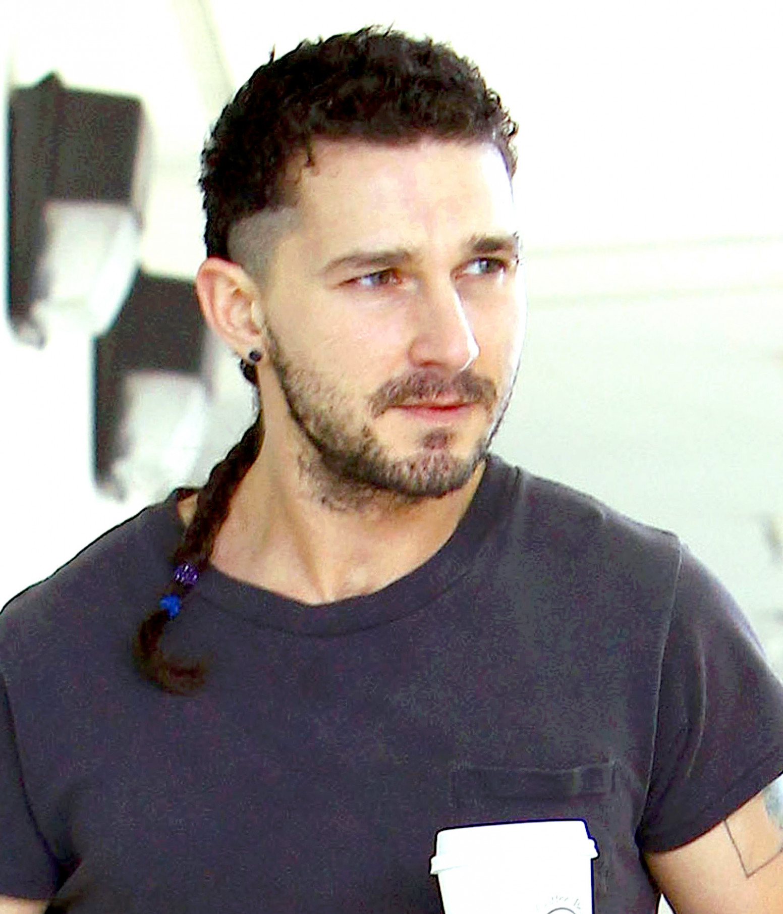 Shia LaBeouf Debuts Long Rattail Braid: Hairstyle Photos