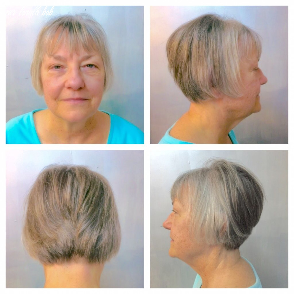 Short ear length elevated bob with a textured fringe works great