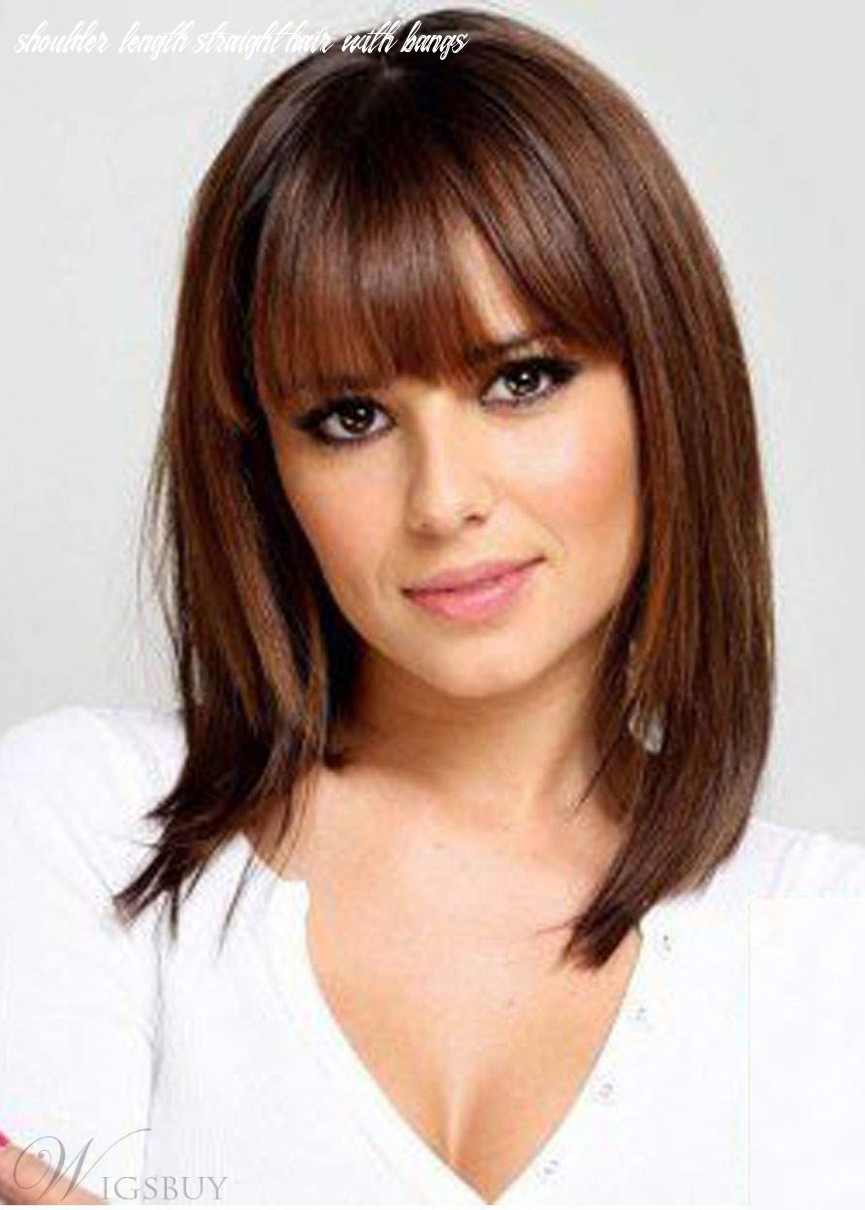 Shoulder length natural straight haircut with bangs synthetic hair lace front wigs 8 inches shoulder length straight hair with bangs