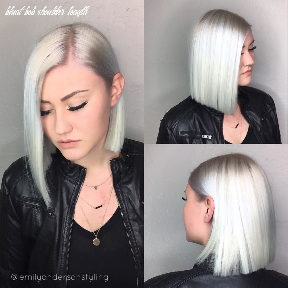 Shoulder length platinum white asymmetrical blunt bob | flickr blunt bob shoulder length