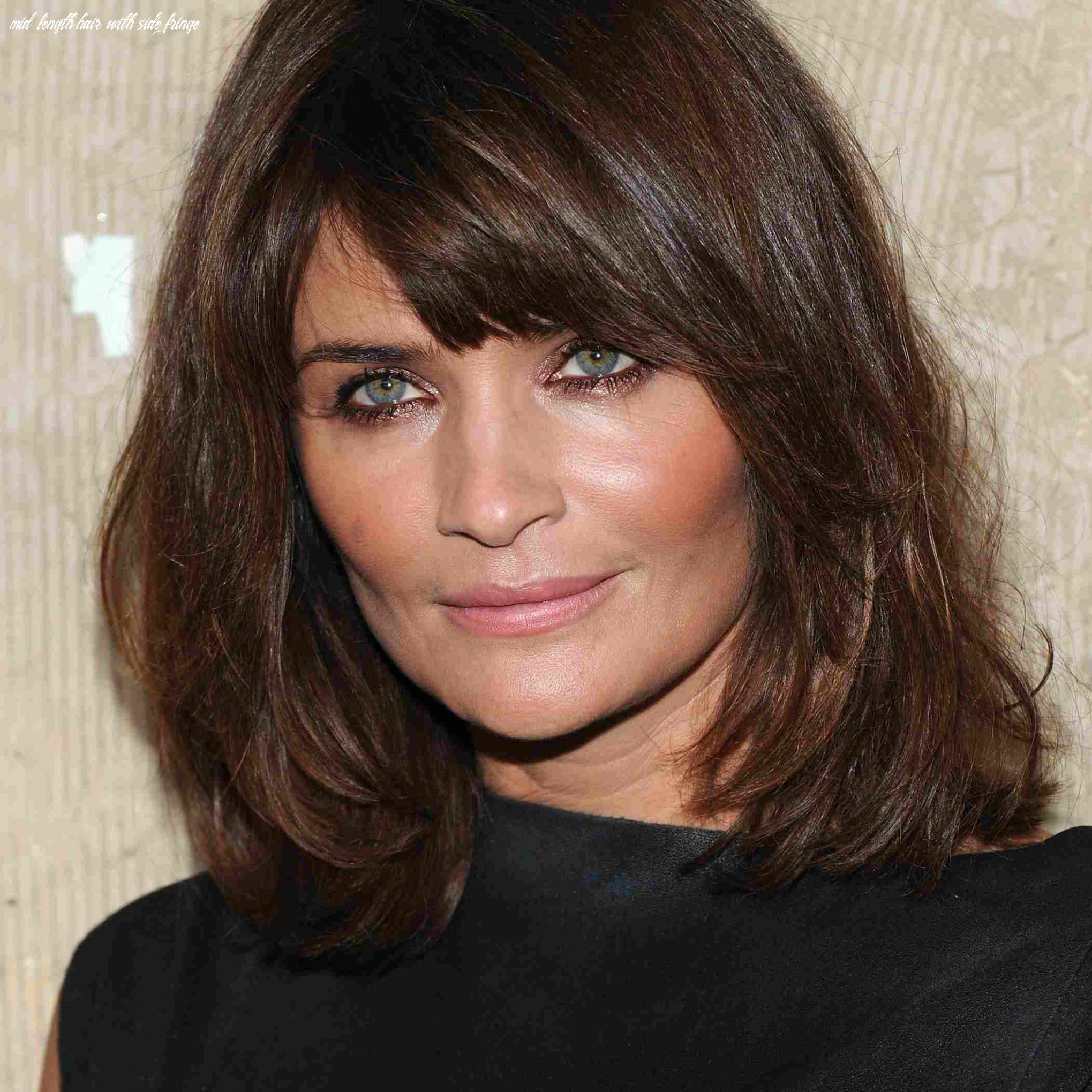 Side swept bangs, shoulder length hair for square faces mid length hair with side fringe