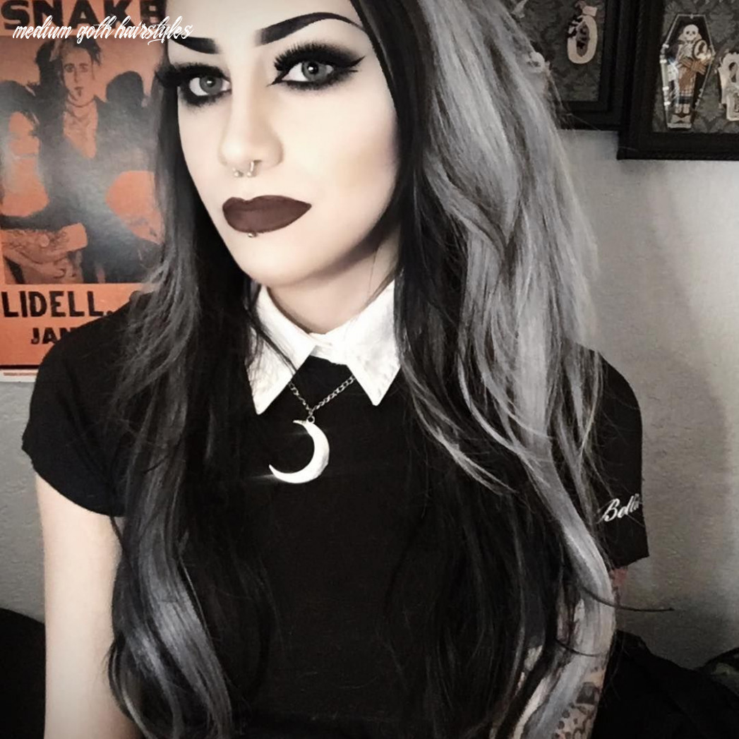 Silver And Black Hair | Gothic hairstyles, Metal girl, Goth women