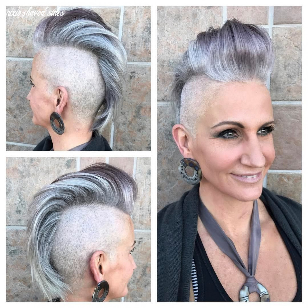 Silver pixie pompadour undercut with shaved sides
