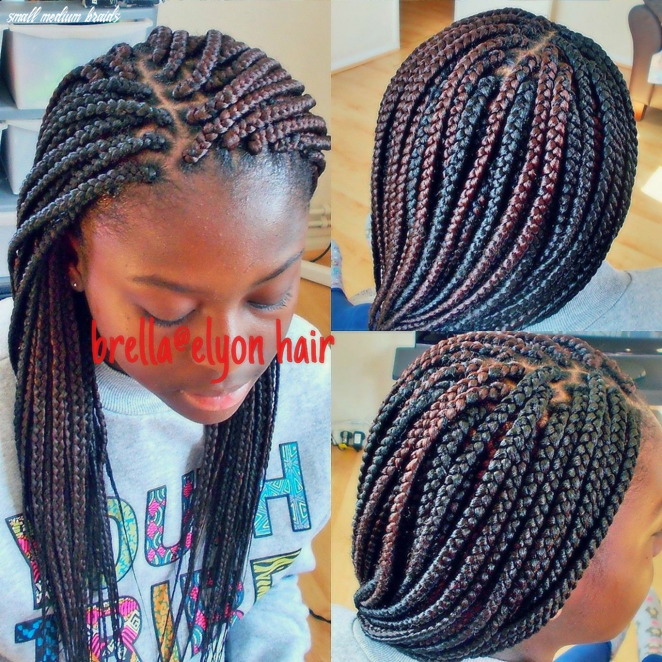 Small to medium size box braids done with color 122 and 12b | box