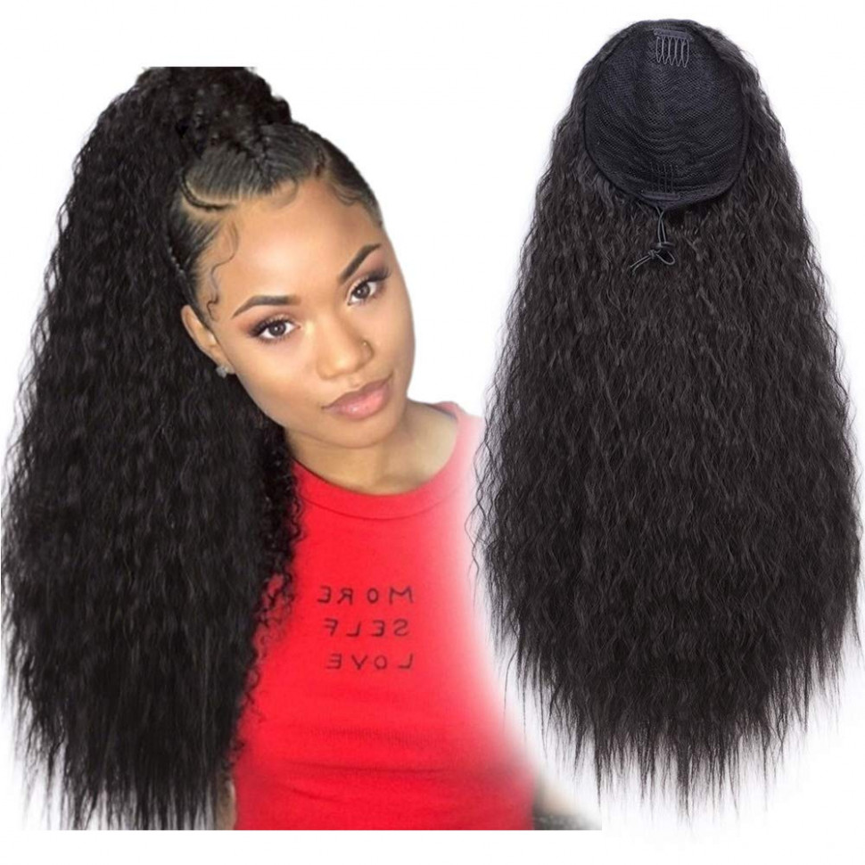 Stamped Glorious 8 Inch Long Curly Ponytail Hair Piece Synthetic Curly  Drawstring Ponytail Extension for Women Clip in Ponytail Extensions (8#)