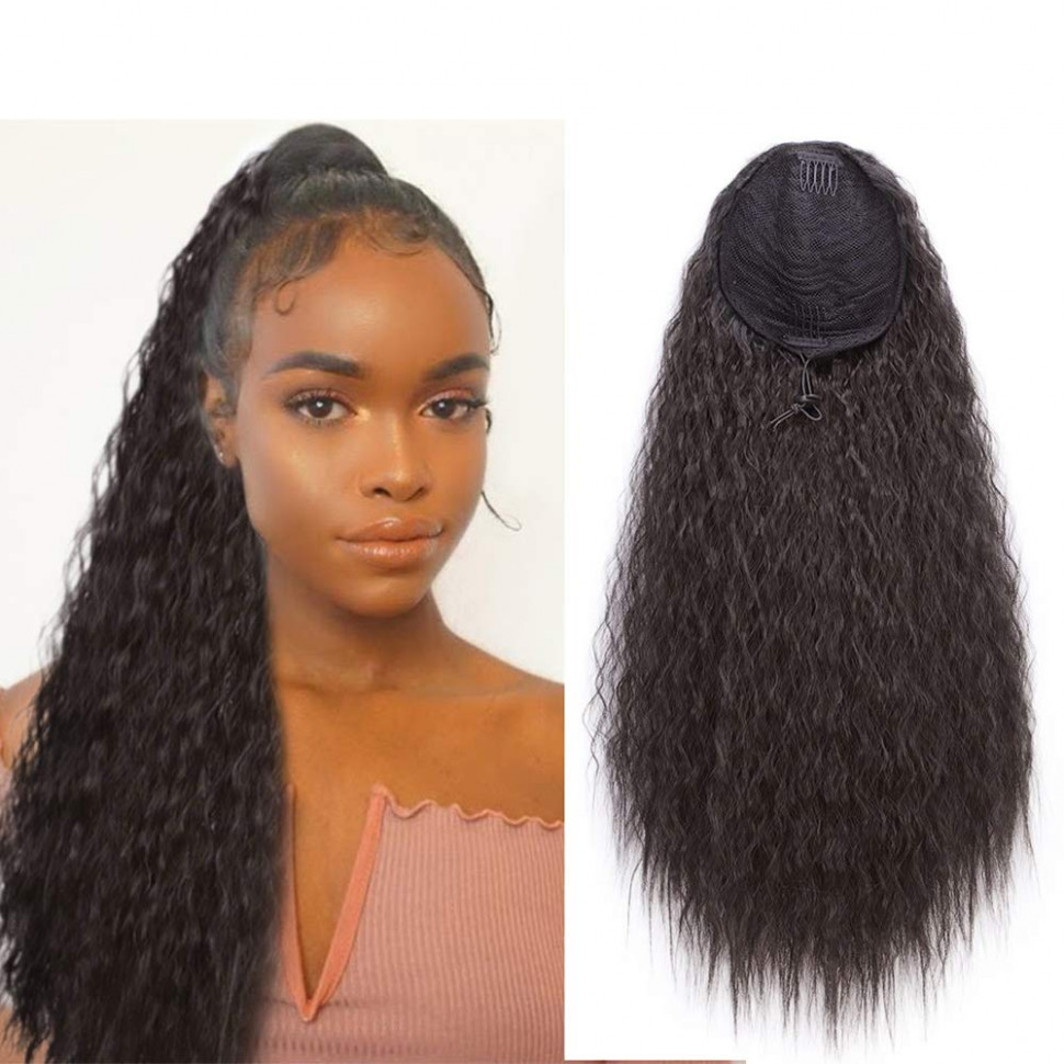 Stamped glorious 9 inch long curly drawstring ponytail clip in ponytail extension synthetic corn wavy ponytail hair pieces for women(9#) long drawstring ponytail