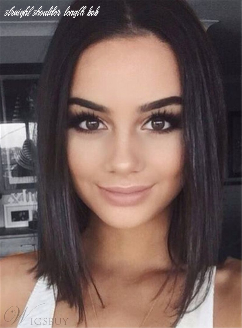 Straight bob hairstyle shoulder length synthetic lace front