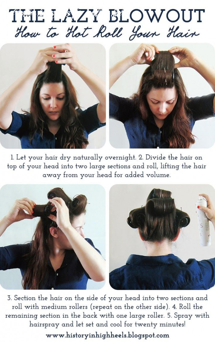 The lazy blowout: how to hot roll your hair   hot rollers hair