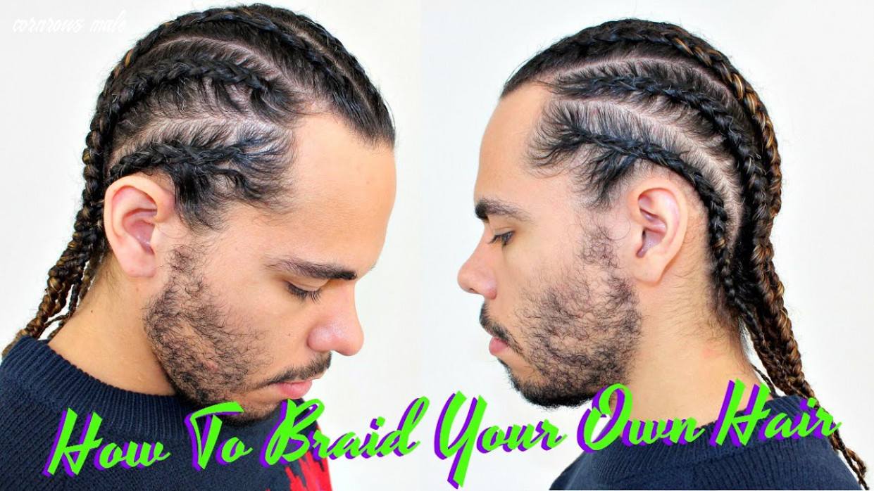 Tutorial how to braid / cornrow your own hair / protective style for curly hair / men boxer braids cornrows male