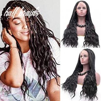 UQueen Micro Braided Lace Front Wigs Half Braids with Half Wavy Box Braids  Black Synthetic Crochet Box Braids Hair Curly Ends Synthetic Braiding Wigs  ...
