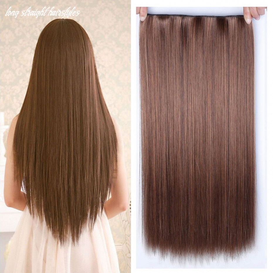 US $9.9 9% OFF|Allaosify 9cm 9 Clip In Hair Extension Heat Resistant  Hairpieces Long Straight Hairstyles Synthetic Clip In on Hair Grey ...