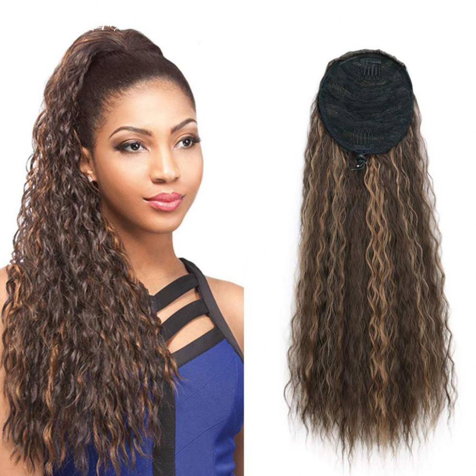 Us $9 9 |synthetic long corn wave drawstring ponytail extension clip in claw hair extensions hairpieces for women dark brown color|synthetic