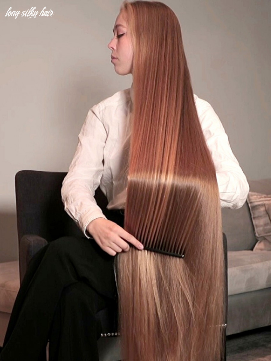 Video super long blonde, silky hair brushing and combing long silky hair