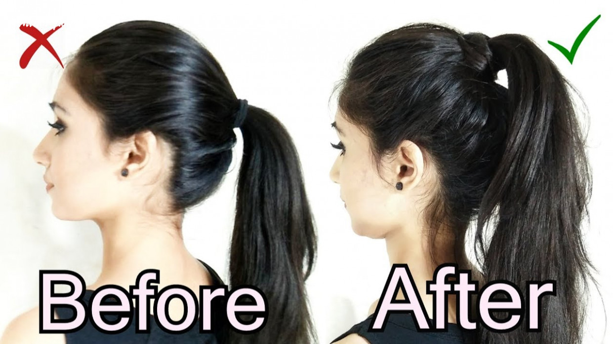 Volumized ponytail hairstyle for medium hair   the perfect high ponytail for school, college & work medium ponytail