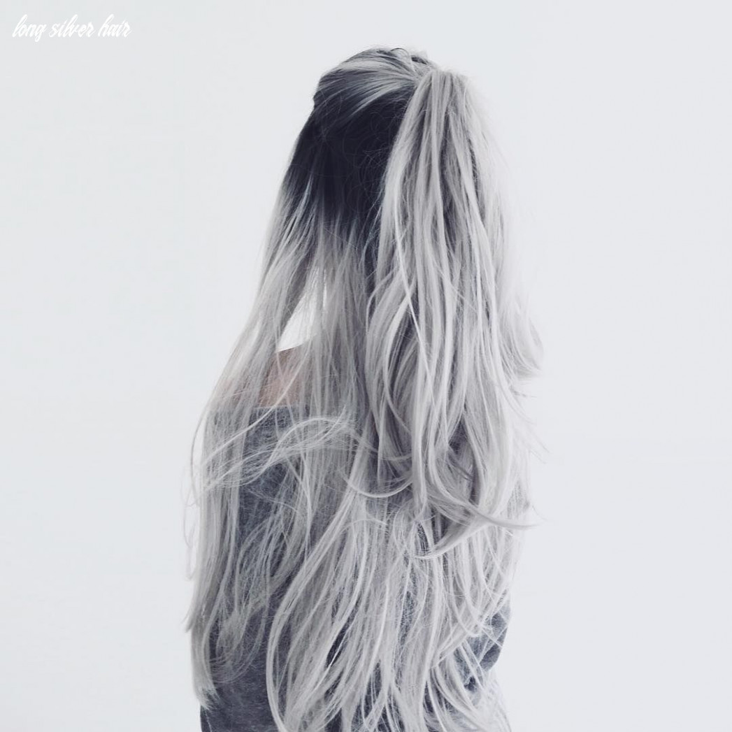 White silver hair ombre hair color | curls | half up half down