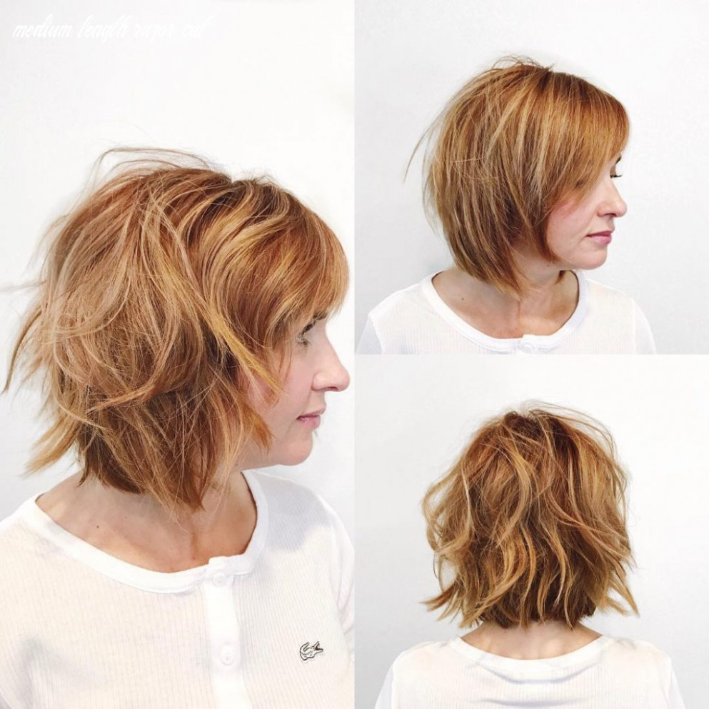 Women's Undone Razor Cut Bob with Side Swept Bangs and Light ...