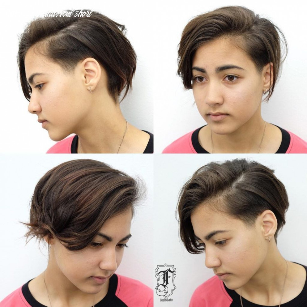 Women's Undone Side Swept Pixie with Tapered Undercut and Brunette ...