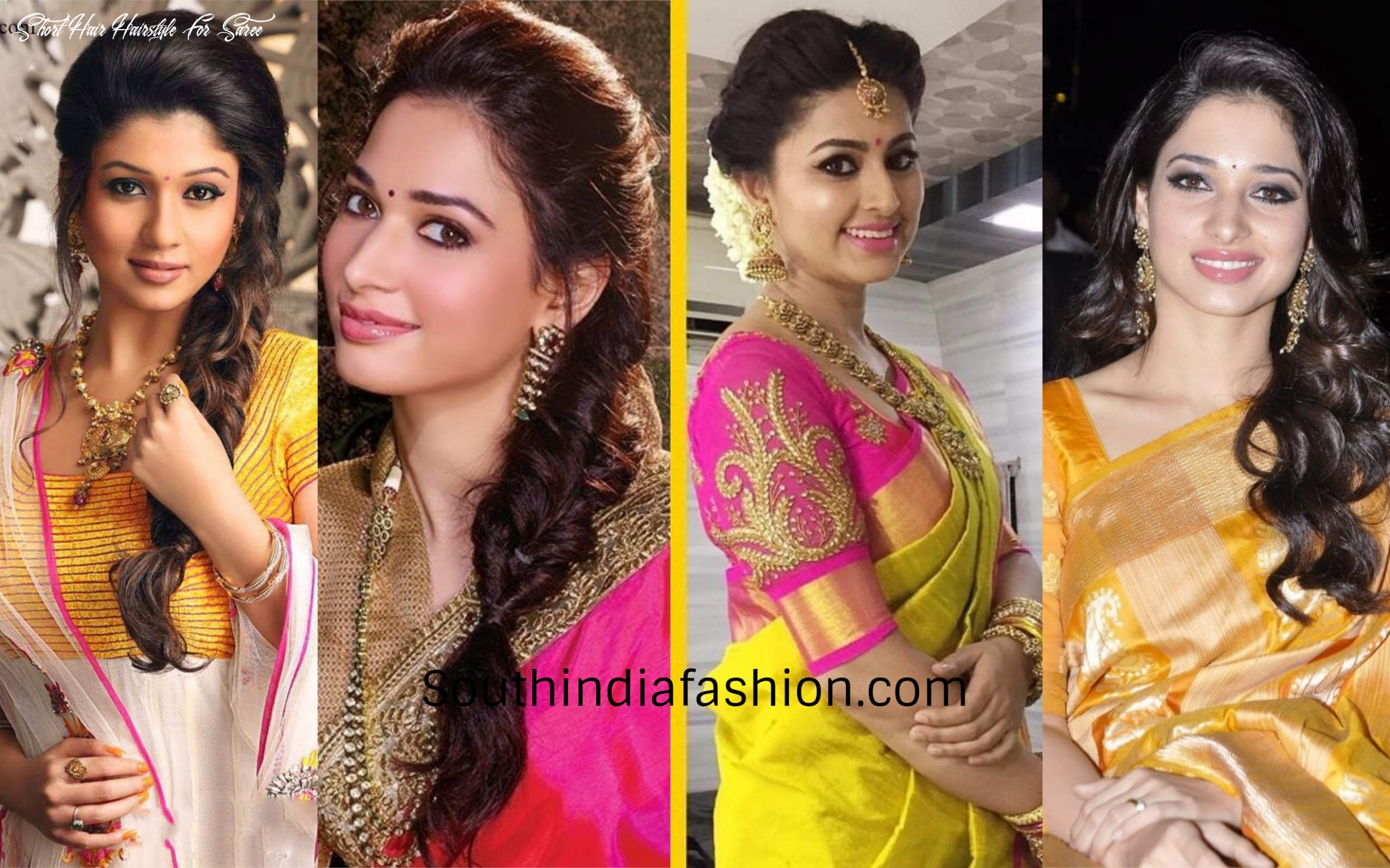 10 best hairstyles when you are dressed in a silk saree!! short hair hairstyle for saree