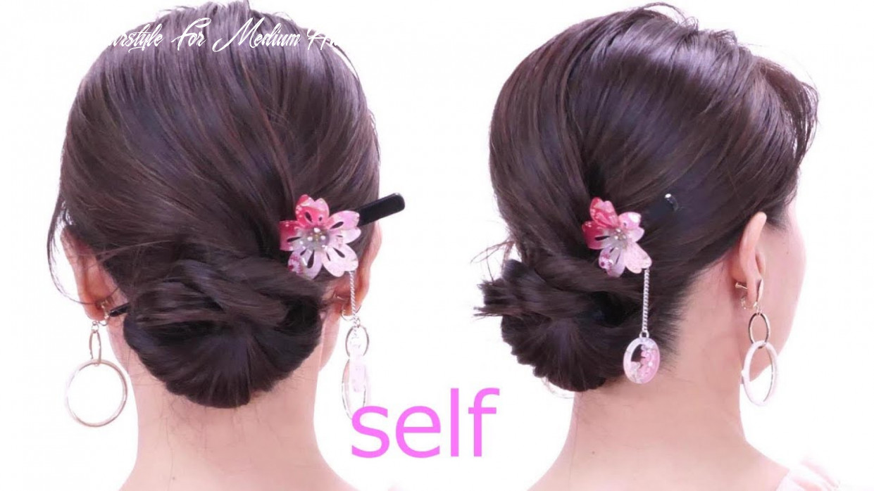 10 minutes quick hair arrangement /self made hair styles / you can do it yourself yukata hairstyle for medium hair
