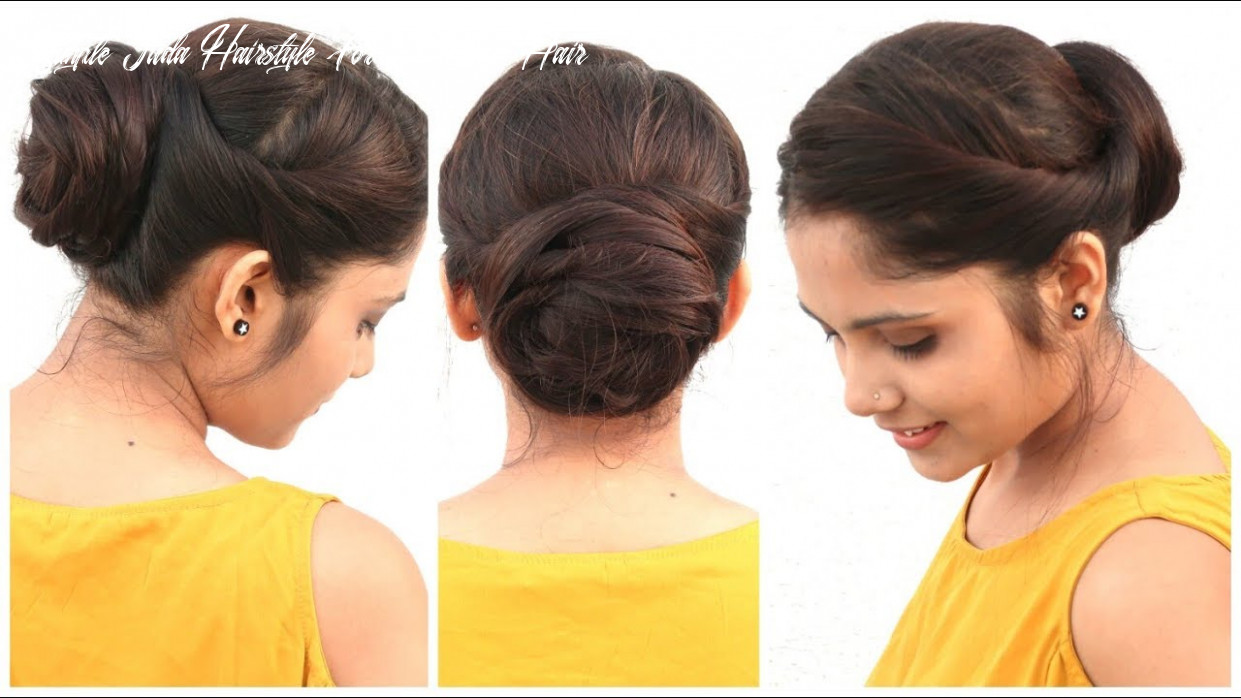 11 min easy bun hairstyle for medium hair   diy quick hairstyle for school, college & work simple juda hairstyle for medium hair