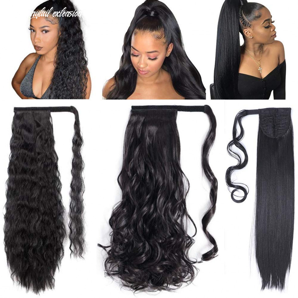 11 pack long ponytail extension 11 inch wrap around black synthetic ponytail magic paste ponytail hairpiece for women (straight corn wave curly wave) long ponytail extension