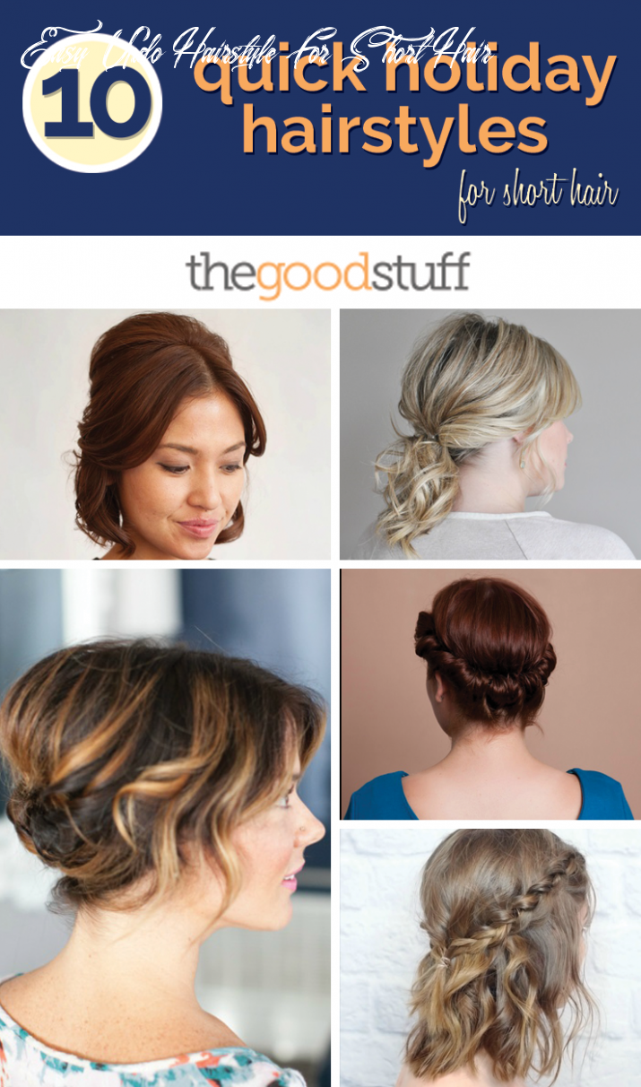 11 quick holiday hairstyles for short hair thegoodstuff easy updo hairstyle for short hair