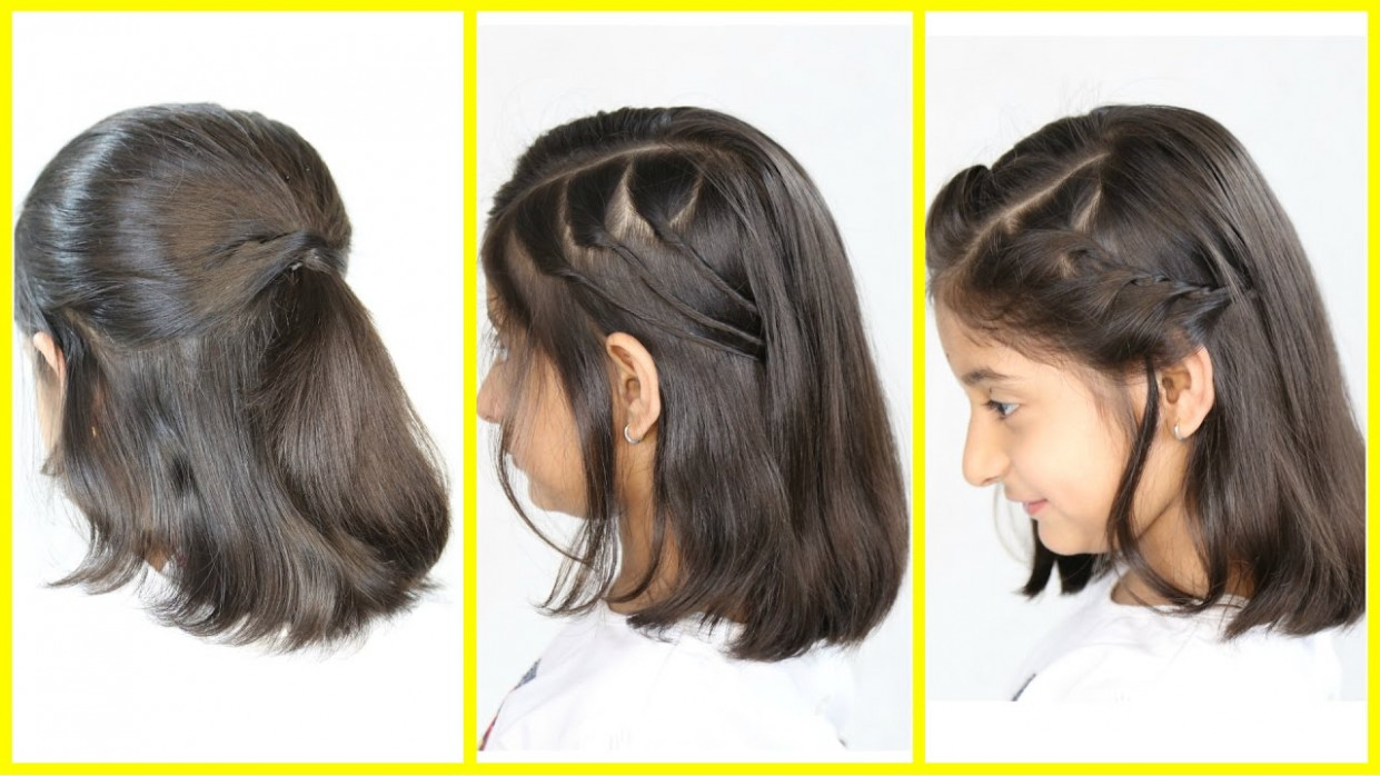 11 simple & cute hairstyles (new) for short/medium hair | mymissanand small hair style girl